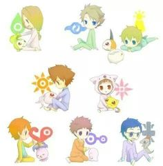 Digimon Adventure: Young DigiDestined with their Digimon and their Digi-Crests…