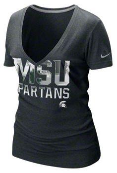 Michigan State Spartans Women's Nike Black Heather Tri-Blend Deep V-Neck T-Shirt