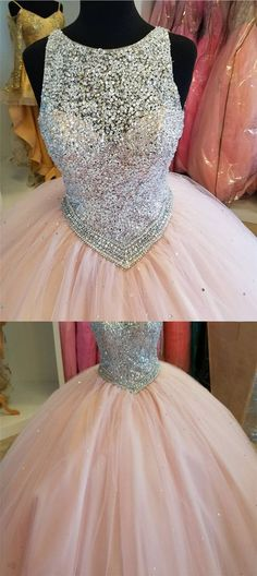 Stunning Sequins Beaded Keyhole Back Tulle Ball Gowns Quinceanera Dresses M4022