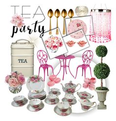 """Pink Tea Party"" by bryanmiranda02 on Polyvore featuring interior, interiors, interior design, hogar, home decor, interior decorating, Wedgwood, Improvements, Pier 1 Imports y Exhart"