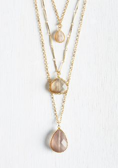 Props to Your Drops Necklace. We propose three cheers for the three rose-hued tiers of this golden necklace! #gold #modcloth