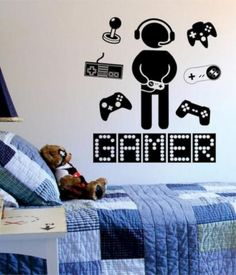 Gamer with Controller Version 3 Quote Decal Sticker Wall Vinyl Art Decor - Chambre gamer Gamer Bedroom, Boys Bedroom Decor, Bedroom Ideas, Bedroom Office, Decor Room, Ikea Inspiration, Vinyl Wall Decals, Wall Stickers, Vinyl Art