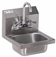 Stainless Steel Hand Sink - NSF - Commercial Equipment X Commercial Kitchen Stainless Steel Hand Sink Includes Gooseneck Faucet, Basket Drain, & Mounting Clip Heavy Duty NSF Approved Overall Dimensions Deep x Wide; Under Sink Organization, Sink Organizer, Organizers, Restaurant Sink, Wire Bar Stools, Commercial Sink, Best Kitchen Faucets, Small Sink, Utility Sink