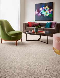 Chatsworth is a luxurious, textured and chunky loop carpet, made with wool. Crafted from our chunkiest yarn ever, this high-quality carpet promises unbelievable amounts of cosy comfort underfoot. Pictured here in colour Cavendish. Office Carpet, Quality Carpets, Wood Stairs, Cheap Carpet Runners, Living Room Carpet, Living Rooms, Carpet Styles, Wool Carpet