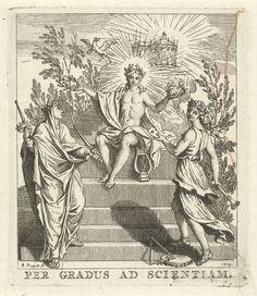 Bernard Picart | Apollo lauwert twee muzen, Bernard Picart, 1712 | Apollo, als god van de poëzie en de muziek, op de Parnassus. Hij lauwert Melpomene en Thalia, respectievelijk de muzen van het treurspel en het blijspel. Op de achtergrond vliegt Pegasus.