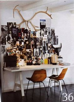Black and white fashion images, gigantic antlers. I love black and the way this is arranged. Photographer? (Inspiration board/mood board/picture wall, artist studio/office.)