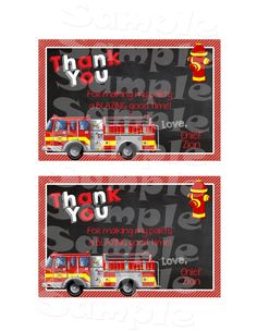 Printable Firetruck Birthday Thank You Card (Digital File Only)