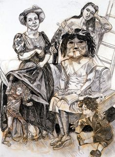 "Paula Rego:""title"">The Young Poet. ""medium"">Graphite and conte pencil on paper ""image dimensions""> 54 x 40 inches Life Drawing, Painting & Drawing, Character Illustration, Graphic Illustration, Gouache, A Level Art, Painting People, Feminist Art, Black N White Images"