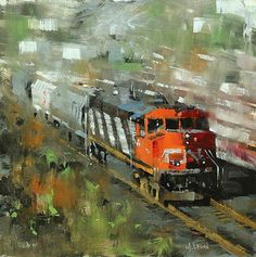 Toronto Bound by Mark Lague Oil ~ 12 x 12 Canadian National Railway, Automotive Art, Illustration Artists, Art Techniques, Impressionism, Montreal, Amazing Art, Toronto, London
