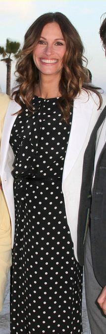 Who made Julia Roberts' white blazer and black and white polka dot jumpsuit that she wore in Santa Monica on May 17, 2012? Dress – Moschino  Jacket – Rag & Bone
