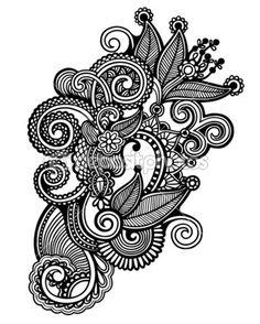 Coloreado a mano de dibujar línea arte recargado flor diseño — Ilustración de stock #22212813