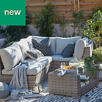 Maevea Rattan Effect 4 Seater Coffee Set Diy At B Q Outdoor Furniture Small Outdoor Spaces Teak Outdoor Furniture Patio