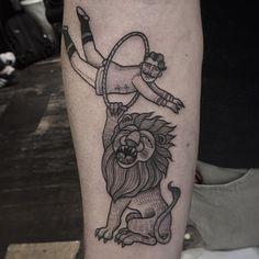 cool circus lion tattoo