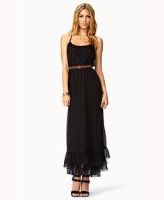 Flounced Racerback Dress in black