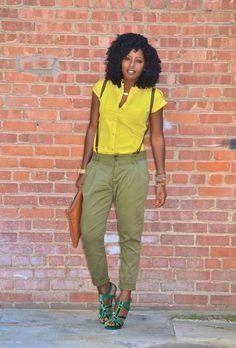 Neon Cap Sleeve Shirt + Suspender Slacks