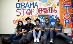 From left, Myisha Areloano, Adrian James, Jahel Campos, David Vuenrostro, and Antonio Cabrera camp outside of the Obama Campaign Headquarters in Culver City, Calif. in protest of President Obama's immigration policies and in hopes of getting him to pass an executive order to halt discretionary deportation on Friday, June 16, 2012.