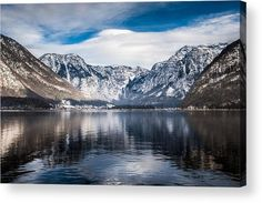 """Salzkammergut Lake, Hallstatt, Austria acrylic print by Mike Organ.   Bring your artwork to life with the stylish lines and added depth of an acrylic print. Your image gets printed directly onto the back of a 1/4"""" thick sheet of clear acrylic. The high gloss of the acrylic sheet complements the rich colors of any image to produce stunning results. Two different mounting options are available, see below."""