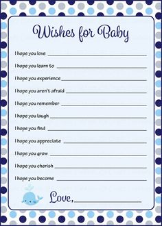 baby shower wishes for baby cards provide both a way for your guests to express their