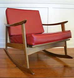 Midcentury Modern Red Rocking Chair by dwellbeing on Etsy, $250.00 Red Rocking Chair, Midcentury Modern, Mid Century, Comfy, Trending Outfits, Room, Furniture, Vintage, Etsy