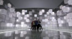 projection mapping on grid/cubes to make them look like they are moving in and out, dynamic opening item, techy, futuristic