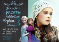 Frozen birthday invitation - Disney's Frozen - Disney Princess - Princess Anna - Princess Elsa - Girl Chalkboard Card - Printable