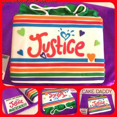 Justice clothing shopping bag birthday cake.