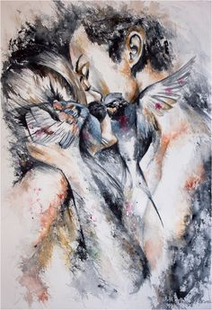 Untitled-86-small (478x700, 457Kb) Watercolor Print, Watercolor Paintings, Kiss Painting, Music Painting, Watercolor Paper, Paintings Of Couples, Drawings Of Couples, Carla Fuentes, Obsessed Girlfriend
