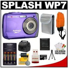 Bell & Howell Splash WP7 Waterproof Digital Camera (Purple) with 8GB Card/Reader + Batteries/Charger + Case + Float Strap + Cleaning & Accessory Kit by Bell + Howell. $84.95. Kit includes:♦ 1) Bell & Howell Splash WP7 Waterproof Digital Camera (Purple)♦ 2) Power2000 XP350-(4) AAA NiMH Rechargeable Batteries & 110/220V Rapid Charger♦ 3) Transcend 8GB microSDHC Class 2 Card with Card Reader♦ 4) Precision Design PD-C10 Camera/Camcorder Case♦ 5) AGFAPHOTO...