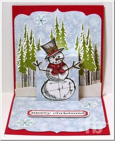 Merry Christmas created by Frances Byrne using Sizzix PNC Square Card with Ornate Edge; Sizzix PNC Multi Tier Insert and Sizzix/Tim Holtz Snowman Blueprint die/stamp set.