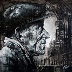 The Old Way of Building, by Ryan Mutter Norman Cornish, Peter Howson, Scaffolding, Working Class, Life Drawing, Local Artists, Sketchbooks, Scotland, Cool Art