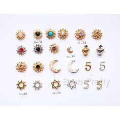 $2.64 2Pcs Sun Flower 3D Nail Decoration Moon Star Shapped Stud For UV Gel Nail Art - BornPrettyStore.com