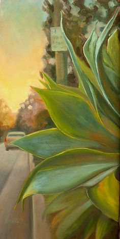 This streetscape oil painting focuses on a large Foxtail agave nestled along the street which captures the warm hues and reflected light of the sunset. Cacti And Succulents, Succulents Painting, Home On The Range, New Artists, Mantle, Fine Art America, 3 D, Original Paintings, Design Inspiration