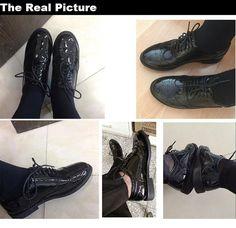 44f62d1bc4 2016 Genuíno Couro Mulheres Sapatos Brogues Oxfords Rendas até Salto Plana  Dedo Do Pé Redondo Preto