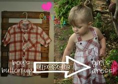 Upcycle: From a Boys' Button-up to a Little Girl's Dress - can make no-sew w/heat n bond or liquid stitch?