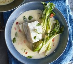Halibut and Bok Choy in Green Curry-Coconut Broth