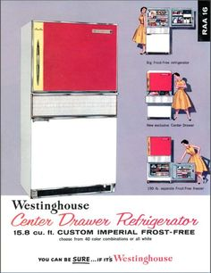 Let's help find a 1960 Westinghouse Center Drawer Refrigerator, designed by Peter Muller-Munk, for the Carnegie Museum of Art's exhibition Mid Century Decor, Mid Century House, Vintage Appliances, Home Appliances, Home Depot, Apartment Size Refrigerator, Discount Appliances, Retro Fridge, Mid Century Modern Kitchen