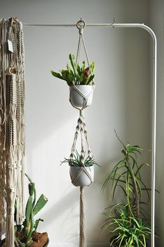 Double macrame plant hanger for small pots - great space sever and home decor. Make you interior boho with hanging plants! MADE TO ORDER in 1-3 business days  >> color: natural cotton/ecru/beige/linen  >> measurements: (this listing is for the macrame plant hanger only, does not include plant or pot)  white small pot diameter: top 11cm (4,3 in) / bottom 8cm (3 in) height 13 cm (4 in)  +/- couple centimetres larger or smaller pots will also fit with no prob...