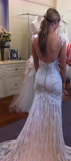 lace wedding gown, open back, Beautiful :)