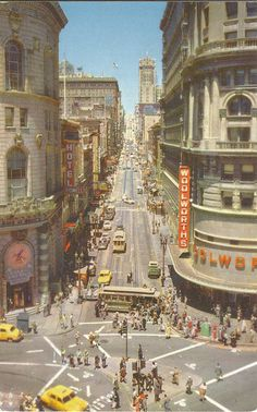U.S. San Francisco. Powell at Market Street, Showing Turntable. At the foot of Powell at Market Street is the famous corner where the cable car is turned around bodily by the crew before starting the journey up the hill again ca. 1950s? |Flickr by Dan_DC