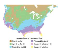 Spring Frost Zone Map
