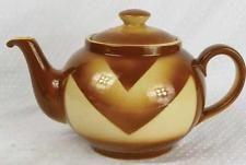 Vintage Art Deco Bunzlau Fever Fest Německo China Pottery konvice přestříkané (HH)