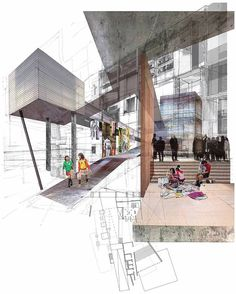Image result for mixed media architecture rendering