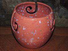 Yarn Bowl, triple thread, unique Salmon colored speckled glaze.  Measures 6 x 6. Great gift for the knitter. by GabiLuBoutique on Etsy