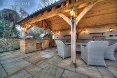 Made in Oak, Oak Framed Garden Structures Outdoor Garden Bar, Garden Gazebo, Garden Buildings, Garden Structures, Outdoor Structures, Outdoor Seating, Outdoor Dining, Dining Area, Open Plan Kitchen Dining Living