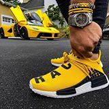 Adidas Human race yellow with that la Ferrari in the background! Adidas Human Race, Human Race Nmd, Human Race Shoes, Ferrari Laferrari, Lamborghini, Audemars Piguet, New York Fashion, Teen Fashion, Fashion Trends