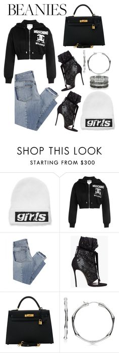 """""""Beanie"""" by lucya-knight ❤ liked on Polyvore featuring Alexander Wang, Moschino, Mix Nouveau, Dsquared2, Hermès, Gucci and Bernard Delettrez"""