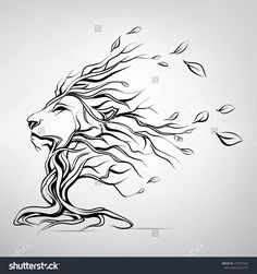 The Head Of A Lion In The Form Of A Tree Stock Vector Illustration 279797204 : Shutterstock
