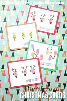 Thumbprint Christmas Cards - Kid Craft Idea