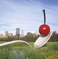 Spoonbridge and Cherry by Claes Oldenburg and Coosje Van Bruggen in Minneapolis, Minnesota.