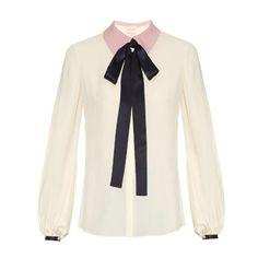 Roksanda Kellaway neck-tie crepe blouse ($850) ❤ liked on Polyvore featuring tops, blouses, cream multi, neck tie blouse, neck-tie, necktie blouse, cream top and white crepe blouse